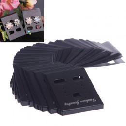 100 sztuk kolczyk kolczyki do uszu organizer czarny plastikowa witryna stojak na biżuterię z nadrukiem kolczyk karty 55016