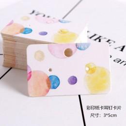 Nowy przybył 50 sztuk 3x5 cm biały papier karty z nadrukiem kolczyki do uszu karty powiesić Tag biżuteria wyświetlacz kolczyk ka