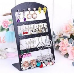 Przenośny 24 otwory 12 par kolczyki kolczyki do uszu biżuteria stojak z tworzywa sztucznego uchwyt na półkę organizator (czarny)