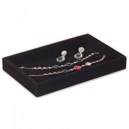 Aksamitna biżuteria taca pierścionek do noszenia warstwowego kolczyk wieszak organizator Box spinki do mankietów spinki do manki