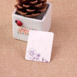 100 sztuk 3.8*4.8 cm biały papierowe kolczyki do uszu karty powiesić Tag biżuteria wyświetlacz kolczyk Crads za etykieta z fiole