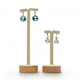FANXI 2 sztuk/zestaw z litego drewna ekspozytor na kolczyki okrągłe dno kolczyk-sztyft uchwyt na kolczyk półka na biżuterię orga