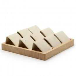 FANXI lite drewno beżowy i ciemny szary 9 miejsc kolczyki stojak z mikrofibry do biżuterii Expositor Ear stud wyświetlacz uchwyt