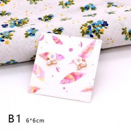 50 sztuk 6x6 cm kolorowe biżuteria papier kartonowy kolczyk karty Favor kolczyki do uszu kolczyki naszyjnik wyświetlacz opakowan