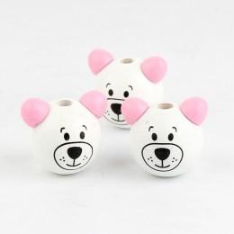 Koraliki drewniane 5 sztuk różowy ucha drewniane 3D Cartoon niedźwiedź piłka koraliki drewniane do tworzenia biżuterii DIY niedź