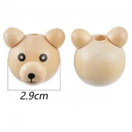 5 sztuk 2.6x2.9 cm mały niedźwiedź ucha drewniane koraliki do biżuterii znalezienie zestaw do robienia bransoletek naszyjnik akc