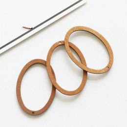 20 sztuk drewna owalne ramki koraliki DIY akcesoria jubilerskie do uszu Hollow kolczyki urok naturalny materiał akcesoria dynda
