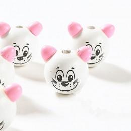 Vogue DIY 5 sztuk 3D Cartoon różowy ucha piękne drewniane nie daje fotografom czasu na zdjęcia Mickey koraliki do tworzenia biżu