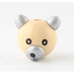 5 sztuk drewna kolor piękne drewniane 3D niedźwiedź uśmiechnięta twarz niedźwiedź cukierki ucha drewniane koraliki do tworzenia