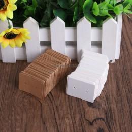 100 Pc 2.5x3.5 cm papier typu Kraft kolczyki do uszu karty powiesić Tag biżuteria narzędzia kolczyk znakowanie ceny odzieży etyk