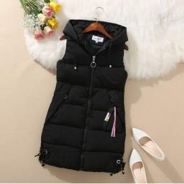 YAGENZ Plus rozmiar kobiety kamizelka kurtka zimowa z kapturem z kapturem płaszcz ciepłe na co dzień bawełna ocieplana kamizelka