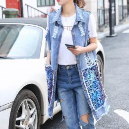 Vangull nowy kobiety powrót cekinami kamizelka dżinsowa 2019 wiosna lato nowy koreański wersja otwór długi otwórz Stitch płaszcz