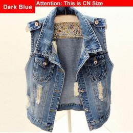 Plus rozmiar zgrywanie bez rękawów kamizelka dżinsowa 3Xl 4Xl 5Xl wiosna kobiety duży rozmiar dorywczo topy krótki mama jeansowa
