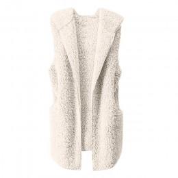 Hxroolrp Srogem polar zima kamizelka kobiety kamizelka ciepła bluza z kapturem znosić płaszcz Jott Colete Feminino kamizelka Fem
