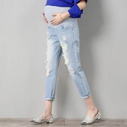 Jeansy ciążowe spodnie ciążowe odzież dla ciężarnych kobiet spodnie pielęgniarstwo Prop brzuch legginsy dżinsy odzież ciążowa