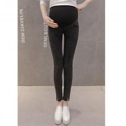 Jeansowe spodnie dla kobiet w ciąży w szerokim pasem elastyczną gumą z guzikami czarne niebieskie modne