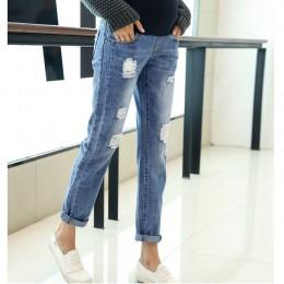 Odzież ciążowa spodnie jeansowe dla kobiet w ciąży odzież spodnie ciążowe kombinezony ciążowe Denim długie Prop brzuch Legging n