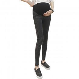 Modne dopasowane dżinsy slim fit dla kobiet w ciąży elastyczny regulowany pas wysoki stan obcisłe spodnie ciążowe
