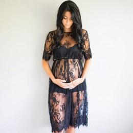 Koronka przepuszczalność sukienka ciążowa fantazyjne Studio odzież ciąża fotografia Prop