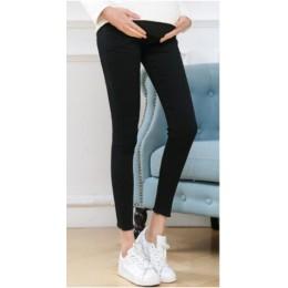 Modne dopasowane dżinsy slim fit dla kobiet w ciąży wysoki stan elastyczny regulowany pas odzież ciążowa