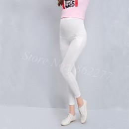 Dla kobiet w ciąży legginsy w ciąży stałe spodnie bawełniane ubrania kobiet wysokiej talii regulowany pasek modalne spodnie dla