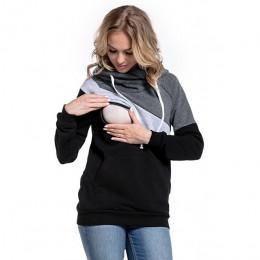 Plus rozmiar ciąża długie rękawy odzież ciążowa z kapturem karmienie piersią bluzki patchworkowy T-shirt dla kobiet w ciąży
