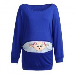 Bluzka dla kobiet w ciąży z kapturem podglądanie dziecka  śmieszna na zamek ciąża matka