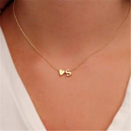 Małe nazwa początkowa Choker naszyjnik 26 litery i serce wisiorek naszyjnik kobiety Collares Collier prezent biżuteria XL217