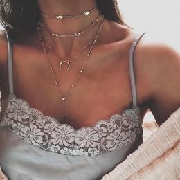 Złoty choker naszyjnik dla kobiet długi księżyc Tassel wisiorek łańcuch naszyjniki i wisiorki koronki aksamitne chokers biżuteri