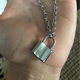 Naszyjnik srebrny kłódka ze stali nierdzewnej łańcuch retro streetwear