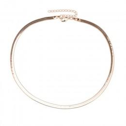 Nowy Punk Chokers naszyjniki dla kobiet cekiny proste płaskie ostrze węża kołnierz naszyjnik złoty srebrny moda biżuteria 24780
