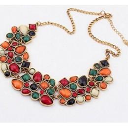 MINHIN nowy popularny 8 kolory Multicolor duży wisior łańcuszek do obojczyka naszyjnik kobiet delikatna biżuteria bankietowa