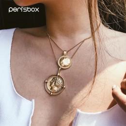 Peri's box złoty kolor wiszące portret monety choker łańcuszek naszyjnik kobiet warstwowe Charms wisiorek Chokers naszyjniki cze