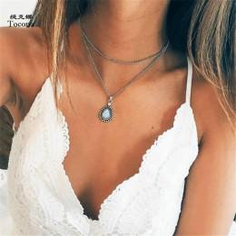 Tocona czeski kropla wody kryształ urok Chokers naszyjniki dla kobiet srebrny łańcuch ze stopu Chokers Collar komunikat biżuteri