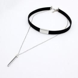 2019 nowy hollow wzory aksamitne Chokers naszyjnik czarny skórzany Rope Chain warstwa choker biżuteria w stylu Vintage dla kobie