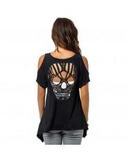 Kobiety zimno ramię koszulka z krótkim rękawem Cut Hollow czaszka Backless na co dzień