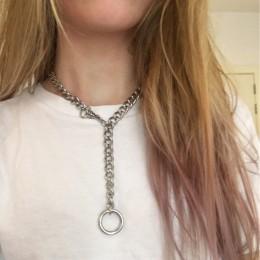 60 cm fajne ręcznie srebrny choker łańcuszek naszyjnik dla kobiet mężczyzn dziewczyny Punk Gothic metalowy kołnierz z O okrągły