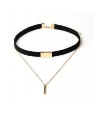 XIYANIKE nowy czarny aksamitny choker naszyjnik złoty łańcuch Bar Chokers naszyjnik dla kobiet collares mujer collier ras du cou