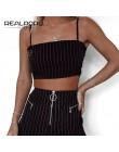 Realpopu na co dzień w paski Camisole Femme Slash Neck panie Streetwear Crop Top elegancki pierścień pasy Bodycon czarny Skinny