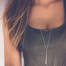 Proste klasyczne mody naszyjnik z wisiorem w kształcie pałki Hollow dziewczyna długi Link Chain plac miedź naszyjniki długi pase