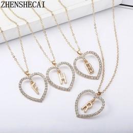 2018 proste złoty kolor naszyjniki w kształcie serca i wisiorki podwójne Rhinestone choker naszyjnik kobiety oświadczenie biżute