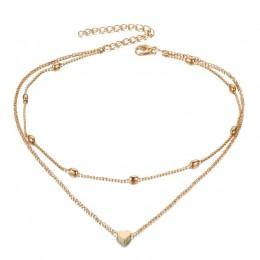 FAMSHIN moda złoty kolor srebrny biżuteria naszyjniki w kształcie serca i wisiorki podwójny łańcuch Choker naszyjnik kołnierz da