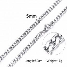 Srebrny złoty wypełniony stałe naszyjnik łańcuchy Link mężczyźni Choker ze stali nierdzewnej mężczyzna kobieta akcesoria moda 20