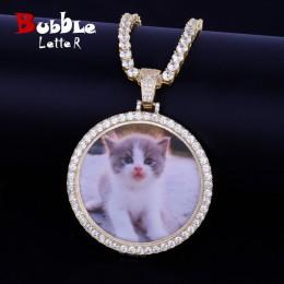 Wykonane na zamówienie zdjęcie medaliony naszyjnik i wisiorek z 4mm łańcuch tenisowy złoty srebrny kolor Cubic cyrkon męska Hip