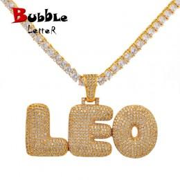 Niestandardowe nazwa Bubble litery łańcuch wisiorki naszyjniki męskie cyrkon Hip Hop biżuteria z 4 MM złoty srebrny łańcuch teni