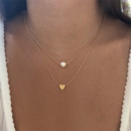 KISSWIFE czechy proste moda sztuczna perła miłość serce podwójna warstwa łańcuszek do obojczyka akcesoria naszyjnikowe damska bi