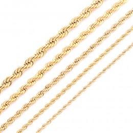 Wysokiej jakości złota poszycia liny łańcuch naszyjnik ze stali nierdzewnej dla kobiet mężczyzn złota moda Rope Chain biżuteria