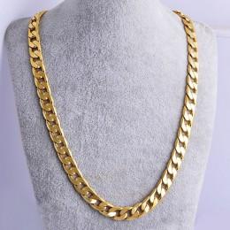 Shellhard Hip Hop mężczyźni naszyjnik łańcuchy moda stałe kolor złoty wypełniony Curb kubański długi naszyjnik DIY łańcuch Charm