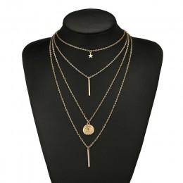 RscvonM nowy w stylu Vintage Boho wielowarstwowy naszyjnik dla kobiet złota gwiazda rogi metalowy naszyjnik Tribal srebrny naszy