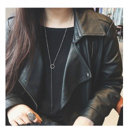 Proste srebrny różowe złoto długi naszyjnik kobiety biżuteria akcesoria naszyjnik X205